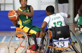 SA player Kelebogile Moeng and Nigeria player Joyce Otun during nternational Wheelchair Basketball Federation's African Qualifiers in Algiers, Staoueli Basketball Stadium from 31 October to 7 November, if they are to book a spot at the 2016 Rio Paralympics, Photo by Abbey Sebetha / Bakonepix